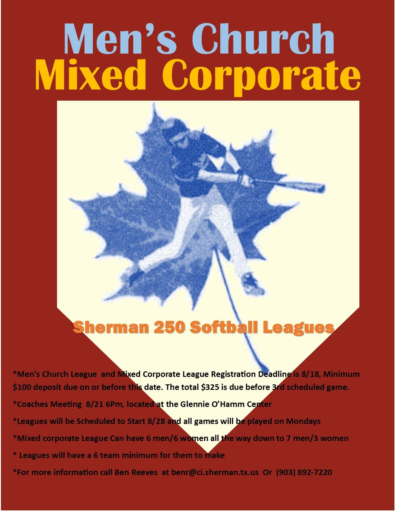 2017 Fall Softball Flyer for Mens church and Mixed Corporate