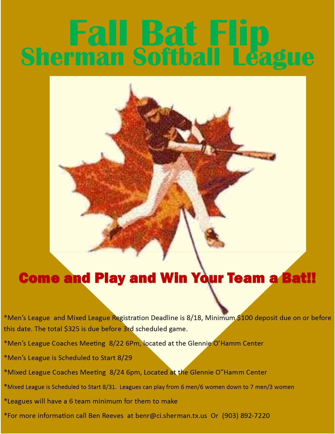 2017 Fall Softball League Flyer